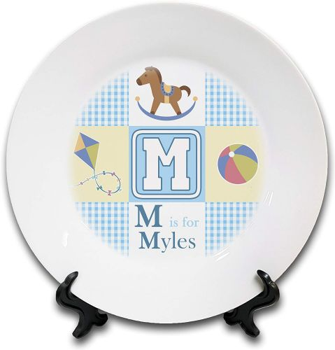 "8"" 'Personalised ABC is for Babies' Novelty Ceramic Plate & Stand - Blue"
